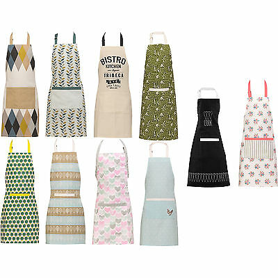 100% Cotton Chef Butchers Cooking Craft Professional Front Pocket Kitchen Aprons