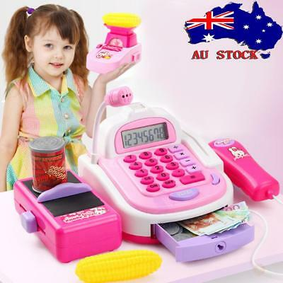 AU Supermarket Cash Register With Weighing Scale Play Toys Pretend Role for Kids