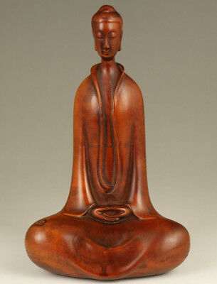 Rare Ancient Boxwood Chinese Old Hand Carved special Buddha Statue