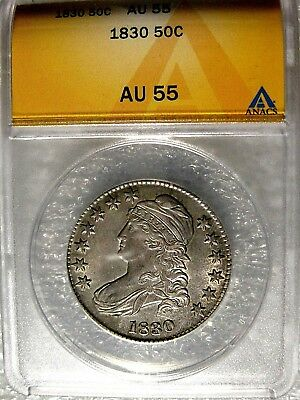 1830 Capped Bust Silver Half Dollar ANACS Certified AU 55
