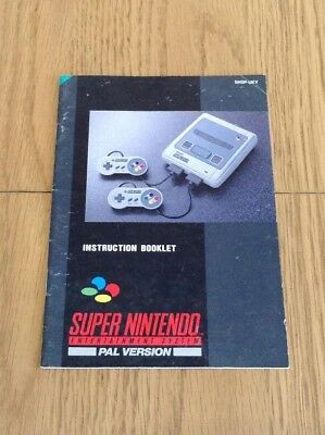 Manual / Instruction Booklet For The Super Nintendo (Snes) System * Pal *