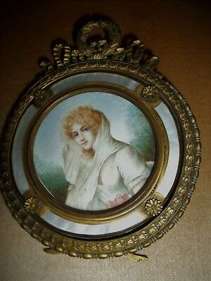 Antique 19Thc Portrait Miniature Of A Lady In A Gilt & Mother- Of- Pearl Frame