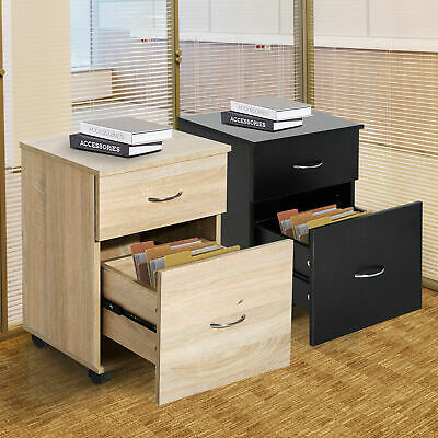 Mobile File Cabinet Wooden Side Table Filling 2 Drawers Pedestal Office Storage