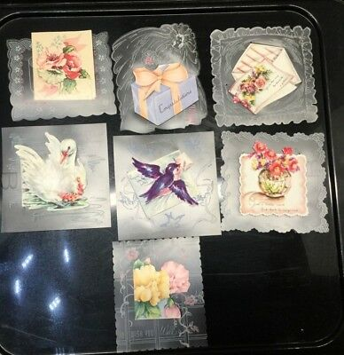 LOT OF 7 VINTAGE GREETING CARD VELLUM base w petite cards attached-GREAT GRAPHIC