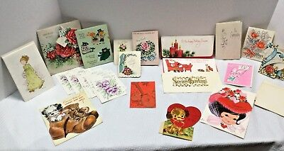 LOT OF 23 VINTAGE GREETING CARD Valentine Christmas Thanks Gift for You St Paddy