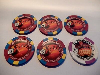 Resorts Atlantic City Mint Casino Chips; Five $5.00 Chips, One $1.00 Chip..cheap