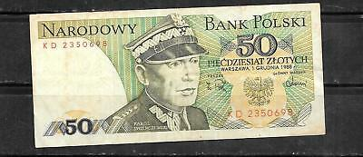 Poland #142C Very Good Used 1988 50 Zlotych Old Banknote Note Paper Money