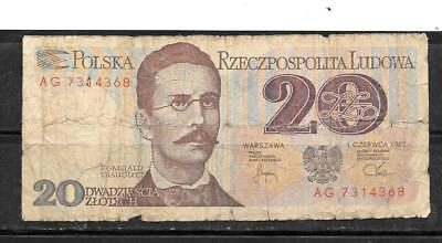 POLAND #149a 1982  GOOD USED 20 ZLOTYCH OLD BANKNOTE PAPER MONEY BILL NOTE