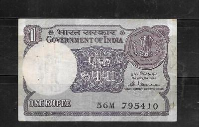 INDIA #78Ab 1985 RUPEE VG USED OLD BANKNOTE PAPER MONEY CURRENCY BILL NOTE