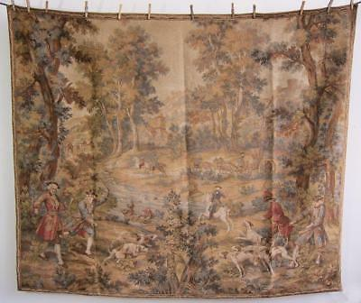 "Large Aubusson Verdur French Hunting Scene Tapestry Wall hanging 5'8"" x 4'10"""