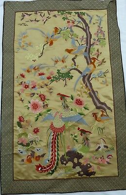 Vintage Chinese Silk Embroidery Embroidered Wall Hanging NO RESERVE