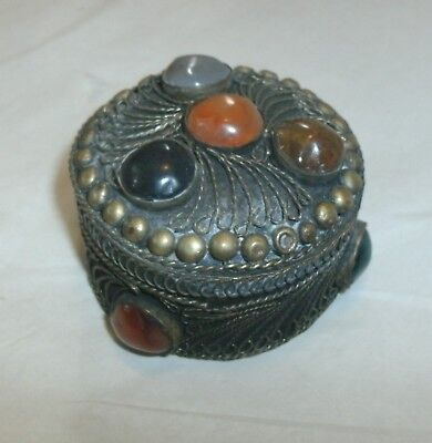 Antique Asian Silver Filigree Lidded Snuff Or Box, Inlaid Stones,Hand Made
