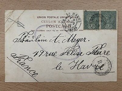 Ceylon Old Postcard Colombo Galle Face To France 1902 !!