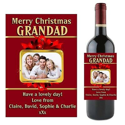 Personalised CHRISTMAS Wine Champagne Bottle Label N2 Gift Idea for him her