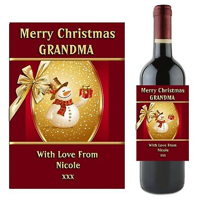 Personalised CHRISTMAS Wine Champagne Bottle Label N1 Gift Idea for him her