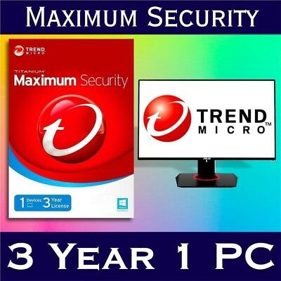 Trend Micro Maximum Security 2018 1 Device | 3 YEAR |Windows | MAC | Android