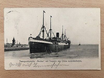 China Old Postcard Streamer Returning With Chinese Troops To Germany 1906 !!