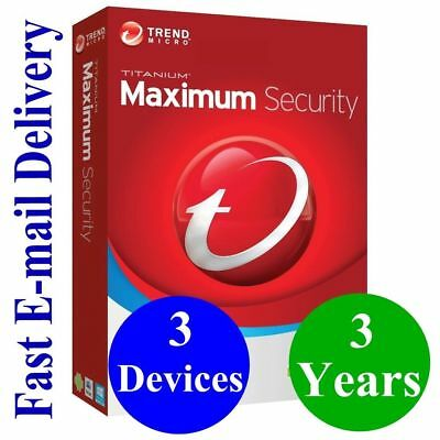 Trend Micro Maximum Security 2018 3 Devices | 3 YEAR | Windows | MAC | Android