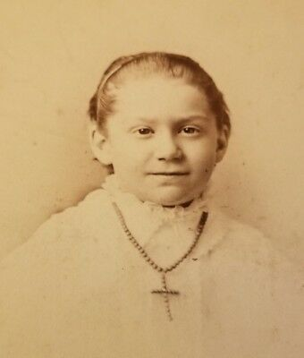 Antique Cabinet Card Photo Little Girl Wearing Large Cross Necklace