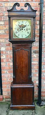 Oak & Mahogany Halifax Moon 8 Day Grandfather Longcase Clock Stones Blackburn