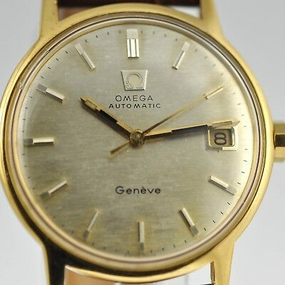Beautiful Genuine Omega Geneve Gold Plated Automatic Quickset Date Vintage Watch