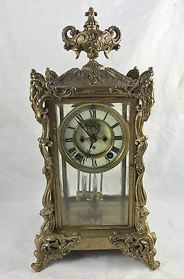 ANSONIA CLOCK Co Four Glass Visible Escapement or  brass bronze Clock to Restore
