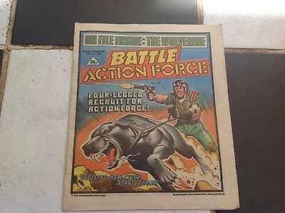 BATTLE ACTION FORCE COMIC - JULY 13th 1985 PALITOY WOLVERINE TANK TOY FIGURES