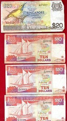 Singapore Currency Group Lot Various Denominations $107.00 Singapore Dollars All