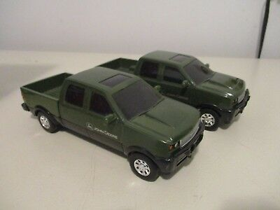 "Lot of 2 Ertl Diecast Toy Pickups Four Door 8"" Long Plastic Cabs Metal Beds"