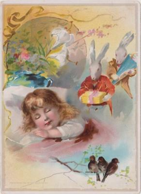 1893 Girl Sleeps Lion Coffee Large Easter Rabbits Trade Card Woolson Spice