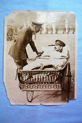 WWI ID'd Photo of King George V with Wounded Soldier