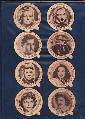1943 DIXIE LID LOT  8 MOVIE STAR LIDS  HARDER TO FIND WW II ISSUE   Authentic