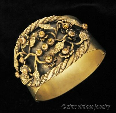 Antique ART NOUVEAU Wide brass FLORAL Topaz amber crystal Cuff bangle BRACELET