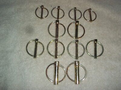 12 NEW LYNCH PINS LOT 4 SIZES ZINC PLATED PIN AND SPRING LOADED RING hardware