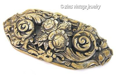 Antique old ART NOUVEAU Large Brass repousse Feather FLORAL Rose sash PIN brooch