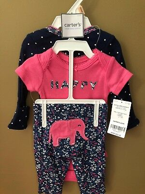Girls Preemie Happy Pink Navy 3pc Outfit NEW NWT Carter's $22 Elephant
