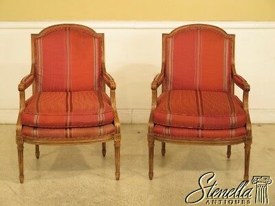 44710EC: Pair BAKER French Louis XVI Style Open Arm Chairs
