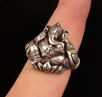 Silver Handmade Elephant Nose God Hindu Sacred Statue Ring Old Collection