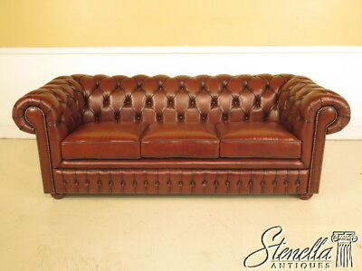 L38831 Quality Brown Leather Tufted Chesterfield Sofa With Bun Feet New