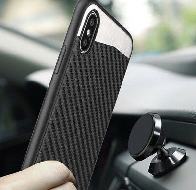 iPhone XS /iPhone 10S - Magnetic Back Plate Black Carbon Fiber Rubber Case Cover