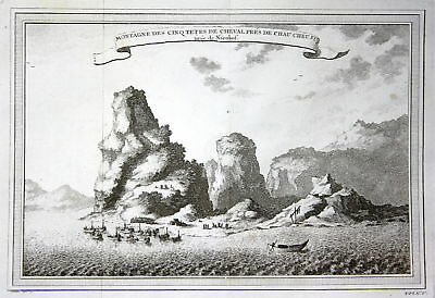 1750 Chau Cheu Fu China Berge mountains Ansicht view Kupferstich antique print