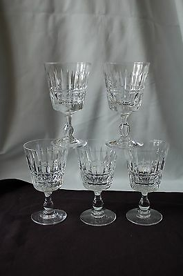 """Five   Rare Royal Brierley Plymouth Crystal  Wine Glasses 4-7/8"""""""