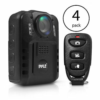 Pyle Compact Portable 1080p HD Infrared Night Vision Police Body Camera (4 Pack)