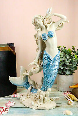 "Aqua Blue Tailed Mermaid Listening To Sconce Figurine 12""H Ocean Goddess Statue"