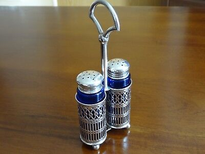 Solid Silver Cruet Set With Blue Glass Liners!!