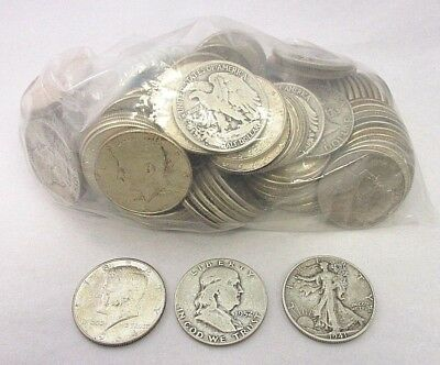 U.S. 90% Silver Half Dollar Coins $50 Face 1964 & Prior About Good-Uncirculated