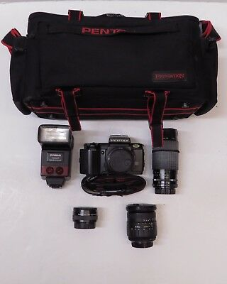 VINTAGE 1987 Pentax SFX SLR Film Camera W/ Various Lenses & Accessories