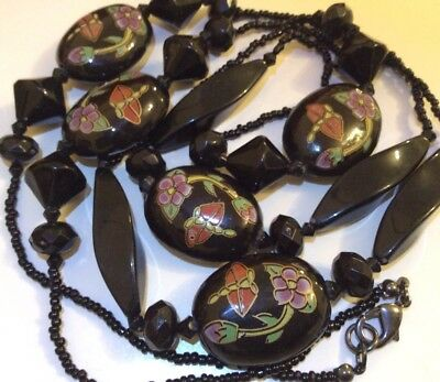 Vintage Japanese Jewellery Gorgeous Dragonfly Flower Black Glass Bead Necklace