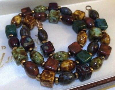 Vintage Jewellery Beautiful Scottish Pebble Agate Cube Bead Necklace