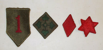 Original WWII US Army Group of 4 Infantry Division Patches 1st, 4th, 5th, 6th